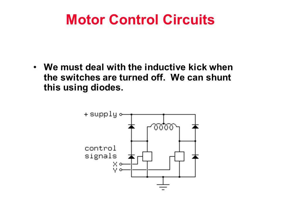 Motor Control Circuits We must deal with the inductive kick when the switches are turned off.