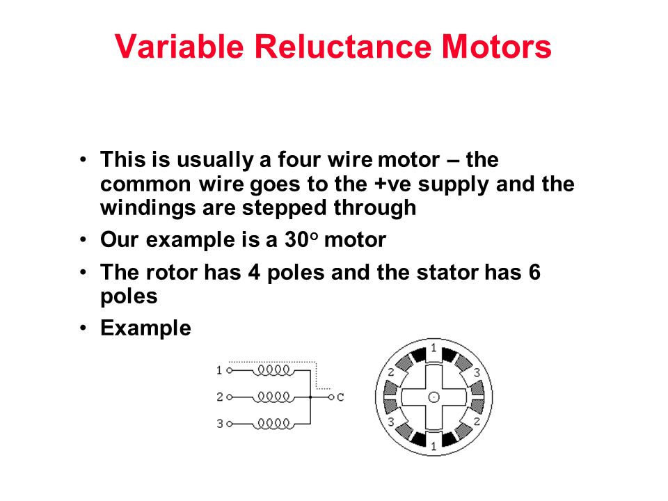 This is usually a four wire motor – the common wire goes to the +ve supply and the windings are stepped through Our example is a 30 o motor The rotor has 4 poles and the stator has 6 poles Example