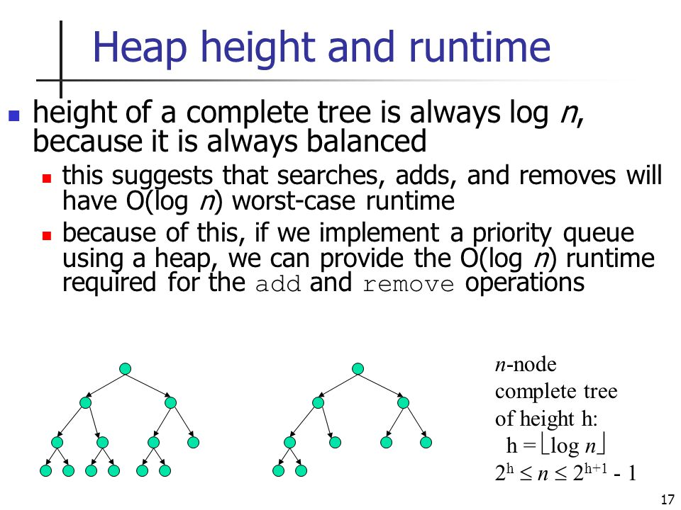 17 Heap height and runtime height of a complete tree is always log n, because it is always balanced this suggests that searches, adds, and removes will have O(log n) worst-case runtime because of this, if we implement a priority queue using a heap, we can provide the O(log n) runtime required for the add and remove operations n-node complete tree of height h: h =  log n  2 h  n  2 h+1 - 1