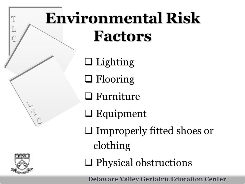 TLCTLC TLCTLC LTCLTC LTCLTC Delaware Valley Geriatric Education Center Environmental Risk Factors  Lighting  Flooring  Furniture  Equipment  Improperly fitted shoes or clothing  Physical obstructions