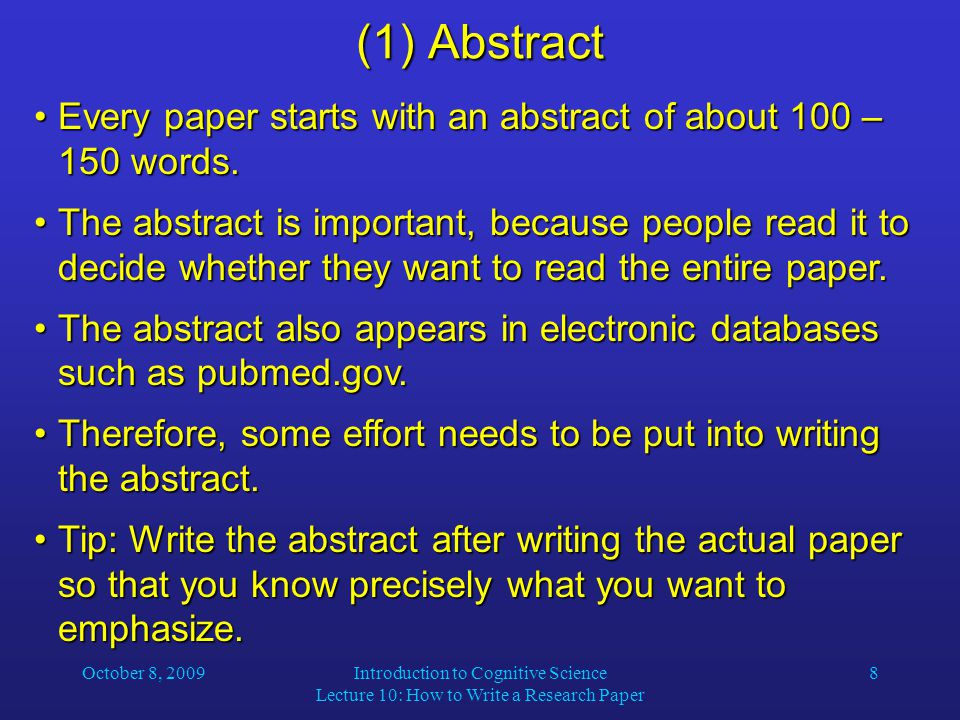 where do you put the abstract in a research paper