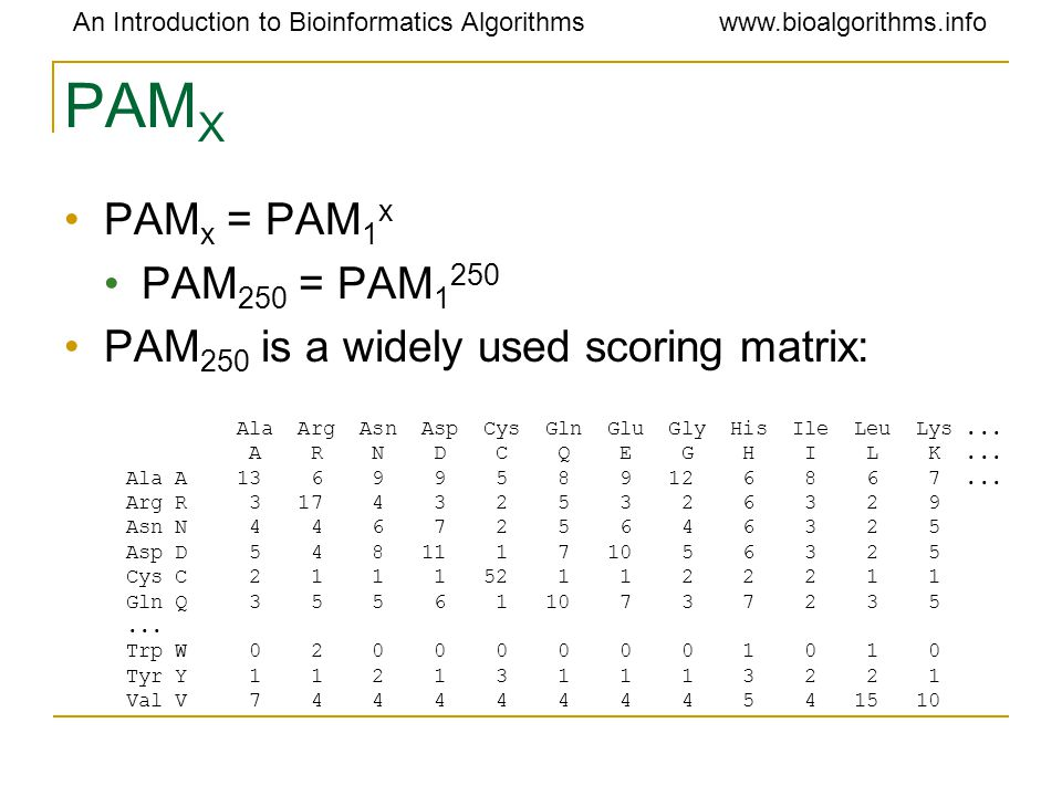 An Introduction to Bioinformatics Algorithmswww.bioalgorithms.info PAM X PAM x = PAM 1 x PAM 250 = PAM PAM 250 is a widely used scoring matrix: Ala Arg Asn Asp Cys Gln Glu Gly His Ile Leu Lys...
