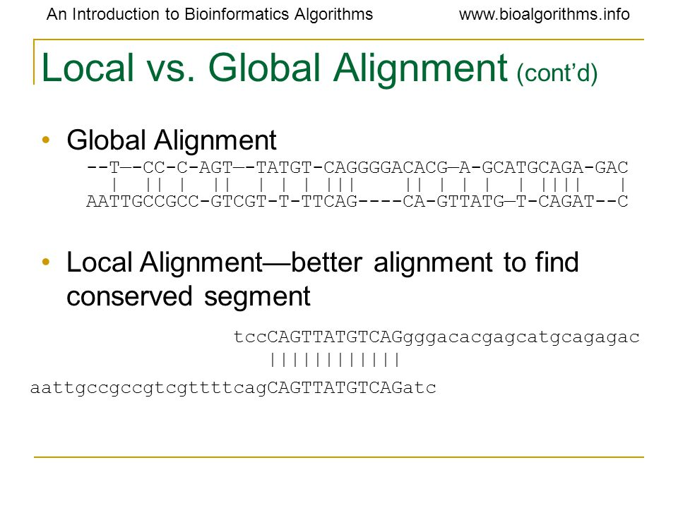 An Introduction to Bioinformatics Algorithmswww.bioalgorithms.info Local vs.