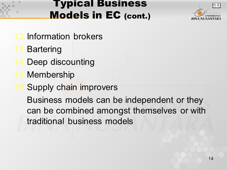 14 Typical Business Models in EC (cont.) 12.Information brokers 13.Bartering 14.Deep discounting 15.Membership 16.Supply chain improvers Business models can be independent or they can be combined amongst themselves or with traditional business models