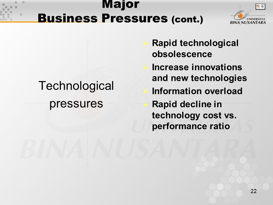 22 Major Business Pressures (cont.) Technological pressures  Rapid technological obsolescence  Increase innovations and new technologies  Information overload  Rapid decline in technology cost vs.