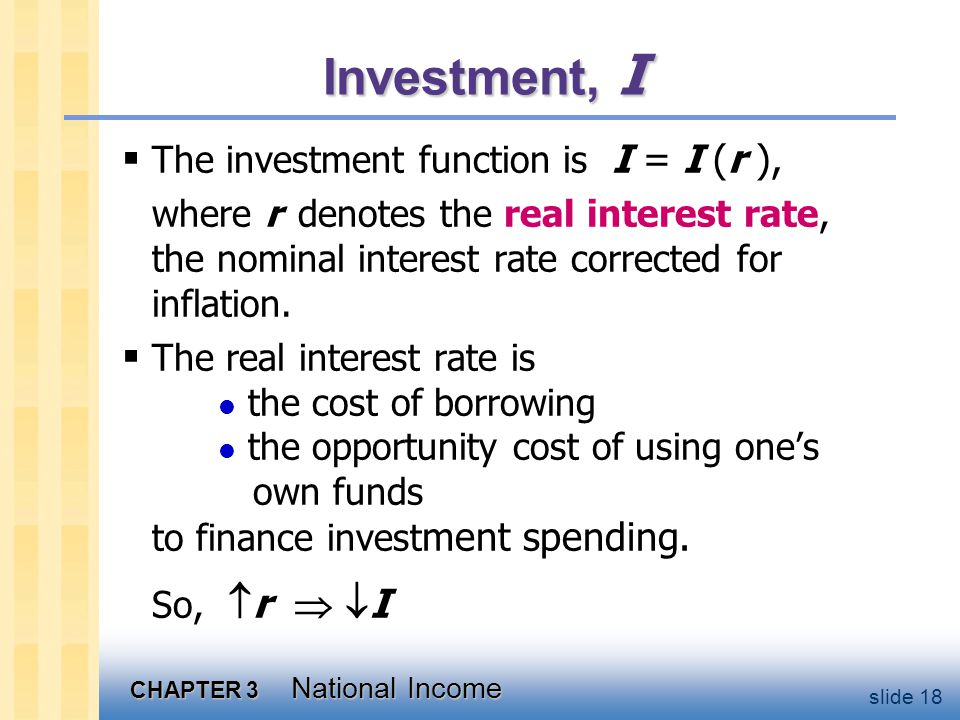 CHAPTER 3 National Income slide 18 Investment, I  The investment function is I = I (r ), where r denotes the real interest rate, the nominal interest rate corrected for inflation.