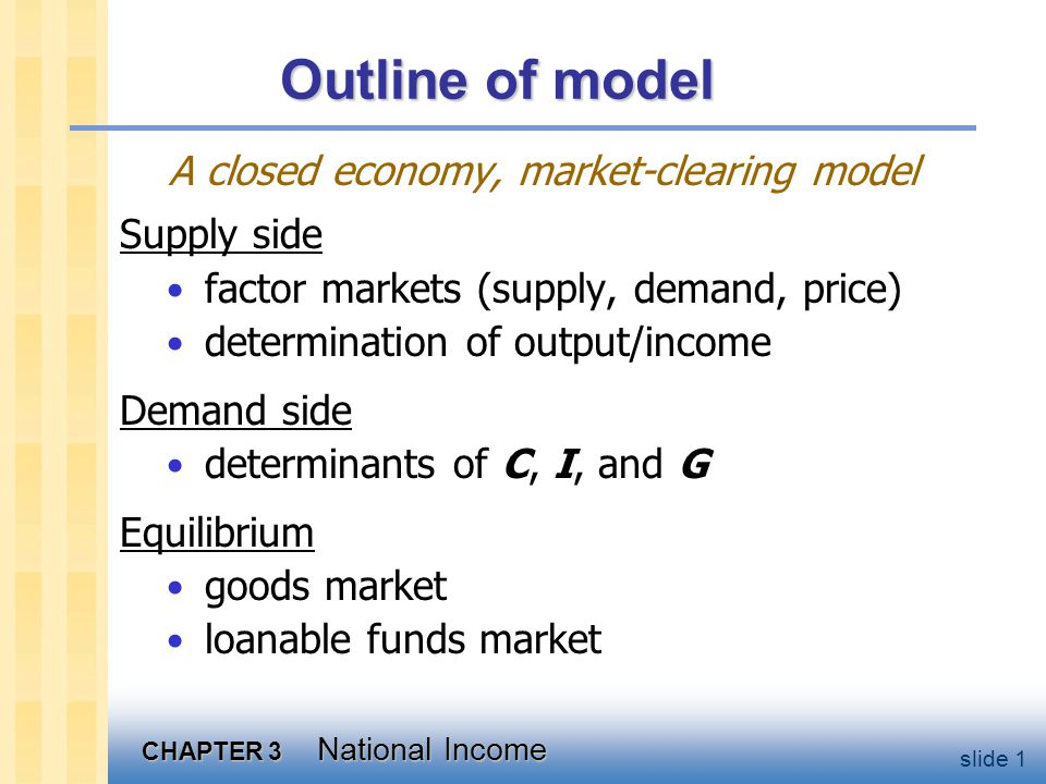 CHAPTER 3 National Income slide 1 Outline of model A closed economy, market-clearing model Supply side factor markets (supply, demand, price) determination of output/income Demand side determinants of C, I, and G Equilibrium goods market loanable funds market