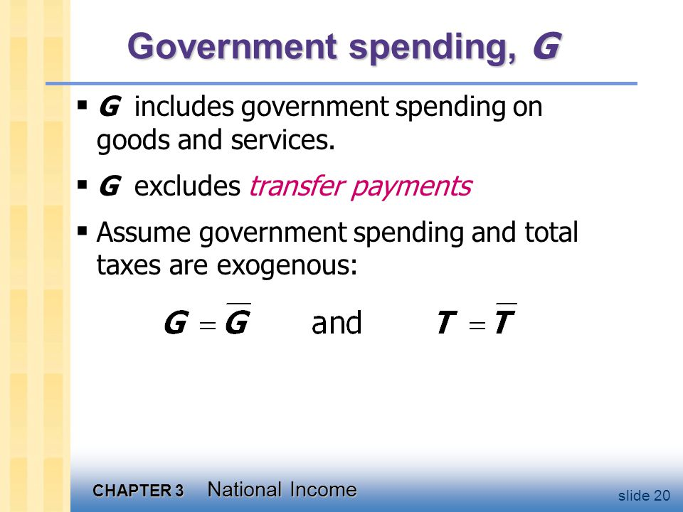 CHAPTER 3 National Income slide 20 Government spending, G  G includes government spending on goods and services.