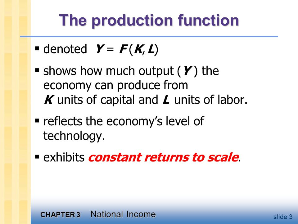 CHAPTER 3 National Income slide 3 The production function  denoted Y = F (K, L)  shows how much output (Y ) the economy can produce from K units of capital and L units of labor.