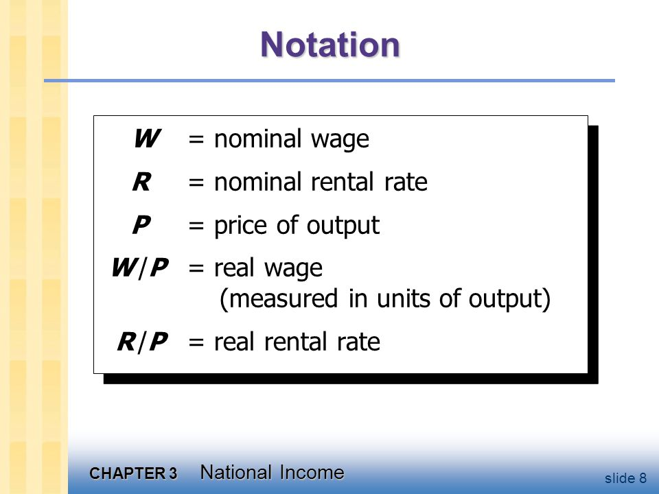 CHAPTER 3 National Income slide 8 Notation W = nominal wage R = nominal rental rate P = price of output W /P = real wage (measured in units of output) R /P = real rental rate W = nominal wage R = nominal rental rate P = price of output W /P = real wage (measured in units of output) R /P = real rental rate