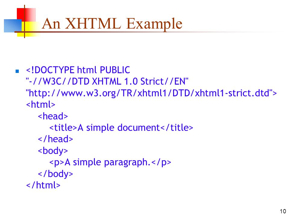 10 An XHTML Example A simple document A simple paragraph.