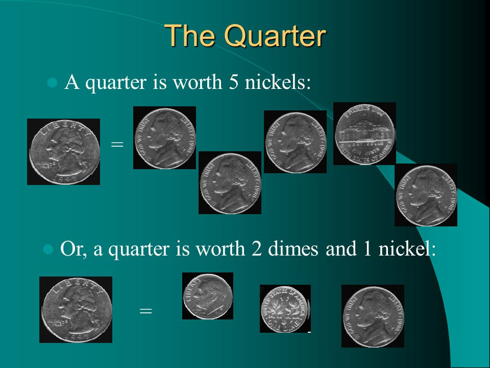 Or, a quarter is worth 2 dimes and 1 nickel: = The Quarter A quarter is worth 5 nickels: =