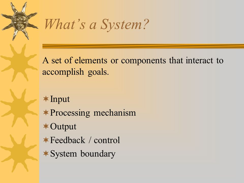 What's a System. A set of elements or components that interact to accomplish goals.
