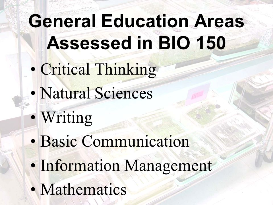 General Education Areas Assessed in BIO 150 Critical Thinking Natural Sciences Writing Basic Communication Information Management Mathematics