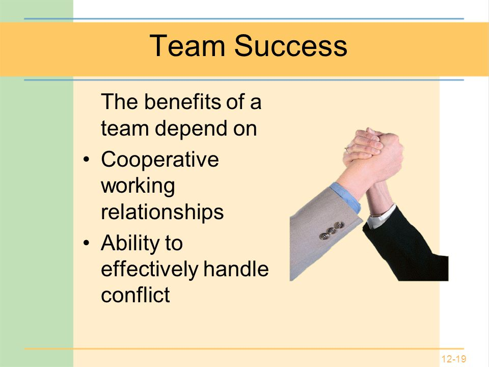 12-19 Team Success The benefits of a team depend on Cooperative working relationships Ability to effectively handle conflict
