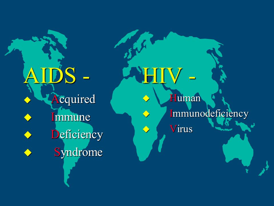 AIDS -  Acquired  Immune  Deficiency  Syndrome HIV -  Human  Immunodeficiency  Virus