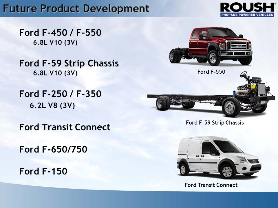 Future Product Development Ford F-450 / F L V10 (3V) Ford F-59 Strip Chassis 6.8L V10 (3V) Ford F-250 / F L V8 (3V) Ford Transit Connect Ford F-650/750 Ford F-150 Ford F-550 Ford F-59 Strip Chassis Ford Transit Connect