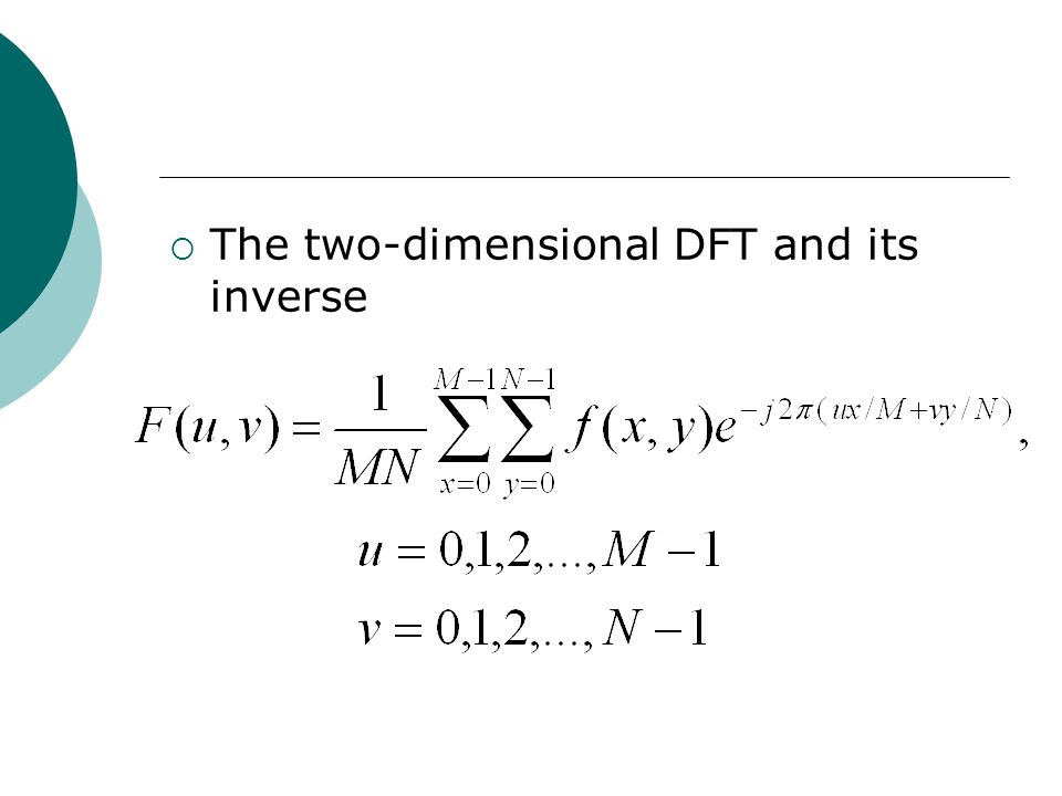  The two-dimensional DFT and its inverse