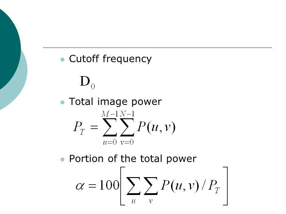 Cutoff frequency Total image power Portion of the total power