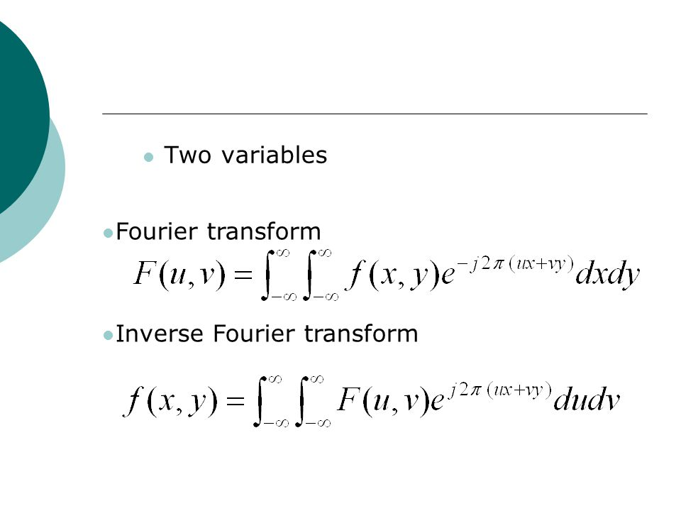 Two variables Fourier transform Inverse Fourier transform