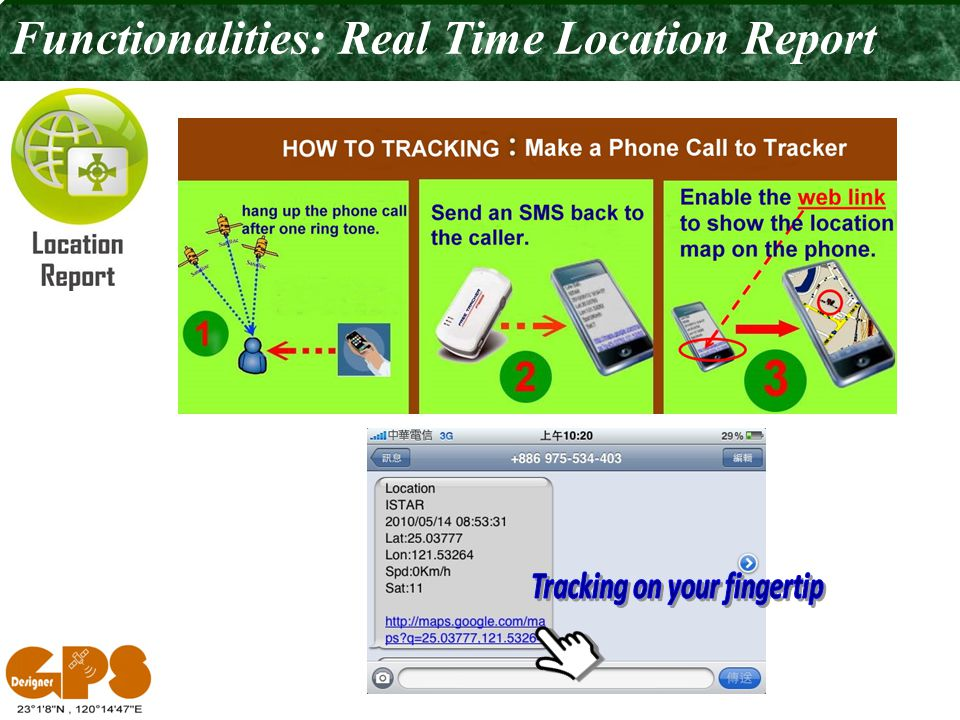 Functionalities: Real Time Location Report