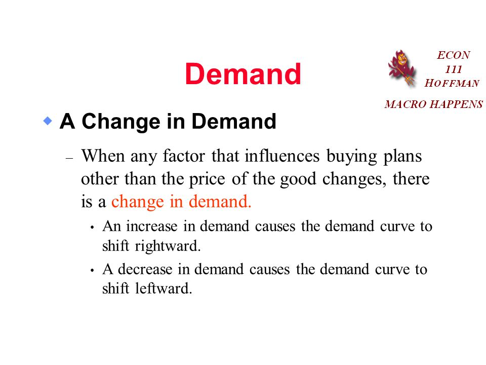 Demand  A Change in Demand – When any factor that influences buying plans other than the price of the good changes, there is a change in demand.