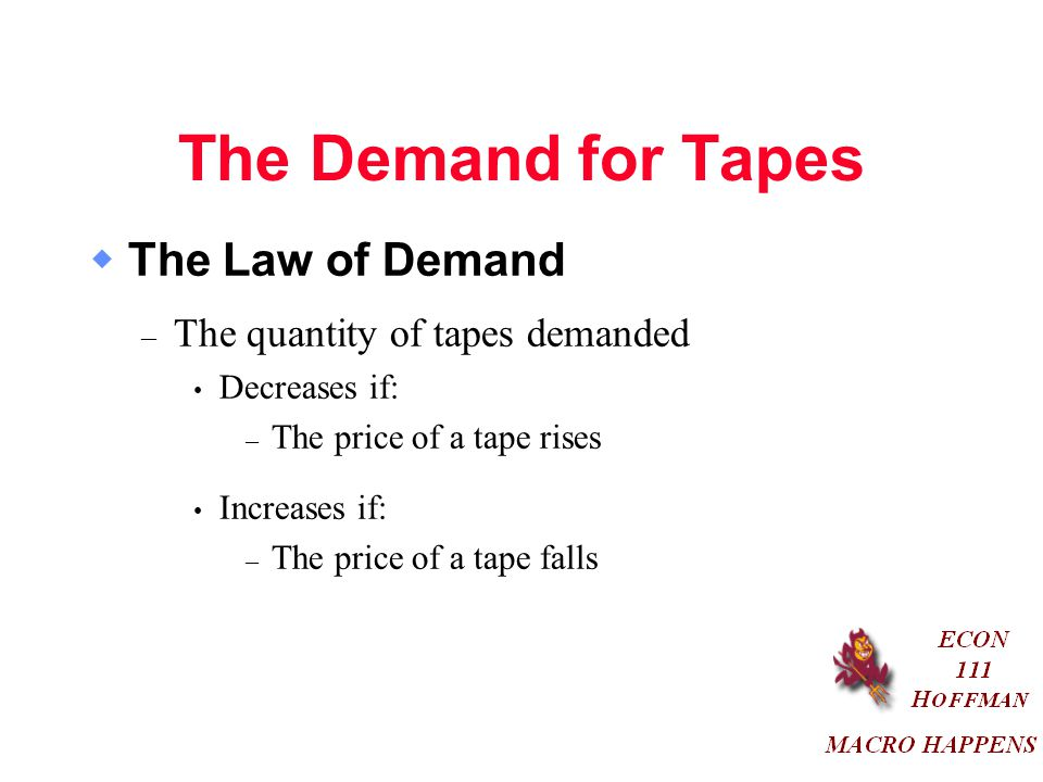 The Demand for Tapes  The Law of Demand – The quantity of tapes demanded Decreases if: – The price of a tape rises Increases if: – The price of a tape falls