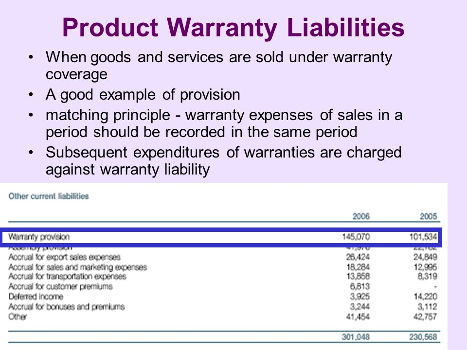 Mugan-Akman Product Warranty Liabilities When goods and services are sold under warranty coverage A good example of provision matching principle - warranty expenses of sales in a period should be recorded in the same period Subsequent expenditures of warranties are charged against warranty liability