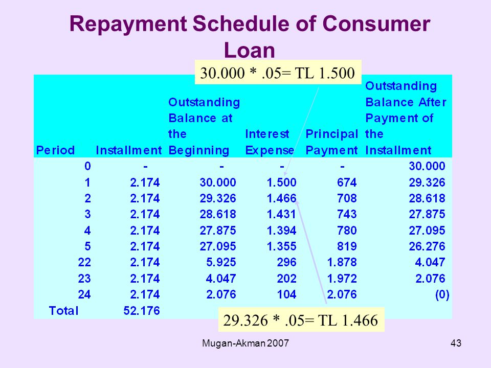 Mugan-Akman Repayment Schedule of Consumer Loan *.05= TL *.05= TL 1.466