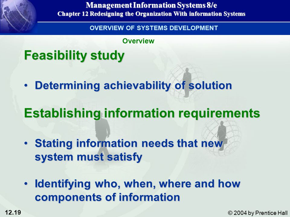 12.19 © 2004 by Prentice Hall Management Information Systems 8/e Chapter 12 Redesigning the Organization With information Systems Feasibility study Determining achievability of solutionDetermining achievability of solution Establishing information requirements Stating information needs that new system must satisfyStating information needs that new system must satisfy Identifying who, when, where and how components of informationIdentifying who, when, where and how components of information OVERVIEW OF SYSTEMS DEVELOPMENT Overview