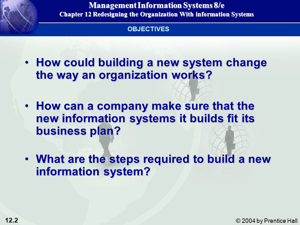 12.2 © 2004 by Prentice Hall Management Information Systems 8/e Chapter 12 Redesigning the Organization With information Systems How could building a new system change the way an organization works How could building a new system change the way an organization works.