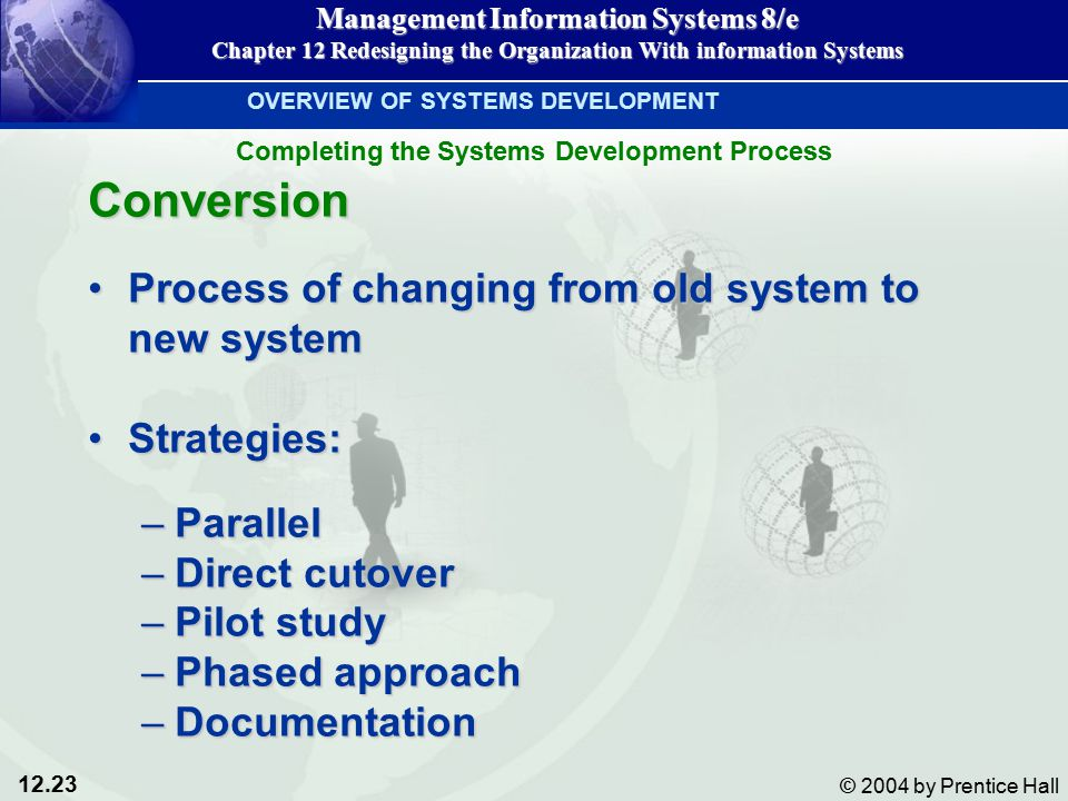 12.23 © 2004 by Prentice Hall Management Information Systems 8/e Chapter 12 Redesigning the Organization With information Systems Conversion Process of changing from old system to new systemProcess of changing from old system to new system Strategies:Strategies: –Parallel –Direct cutover –Pilot study –Phased approach –Documentation OVERVIEW OF SYSTEMS DEVELOPMENT Completing the Systems Development Process