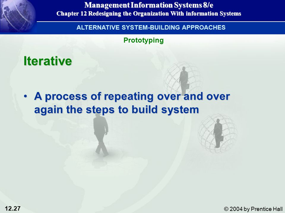 12.27 © 2004 by Prentice Hall Management Information Systems 8/e Chapter 12 Redesigning the Organization With information Systems Iterative A process of repeating over and over again the steps to build systemA process of repeating over and over again the steps to build system ALTERNATIVE SYSTEM-BUILDING APPROACHES Prototyping