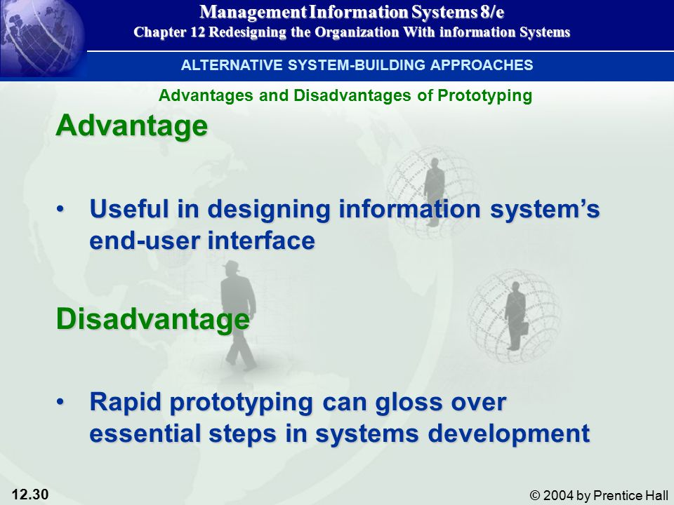 12.30 © 2004 by Prentice Hall Management Information Systems 8/e Chapter 12 Redesigning the Organization With information Systems Advantage Useful in designing information system's end-user interfaceUseful in designing information system's end-user interfaceDisadvantage Rapid prototyping can gloss over essential steps in systems developmentRapid prototyping can gloss over essential steps in systems development ALTERNATIVE SYSTEM-BUILDING APPROACHES Advantages and Disadvantages of Prototyping