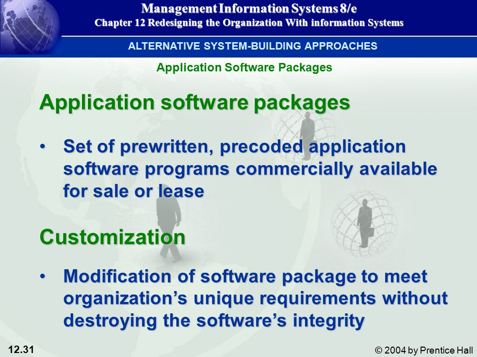 12.31 © 2004 by Prentice Hall Management Information Systems 8/e Chapter 12 Redesigning the Organization With information Systems Application software packages Set of prewritten, precoded application software programs commercially available for sale or leaseSet of prewritten, precoded application software programs commercially available for sale or leaseCustomization Modification of software package to meet organization's unique requirements without destroying the software's integrityModification of software package to meet organization's unique requirements without destroying the software's integrity ALTERNATIVE SYSTEM-BUILDING APPROACHES Application Software Packages
