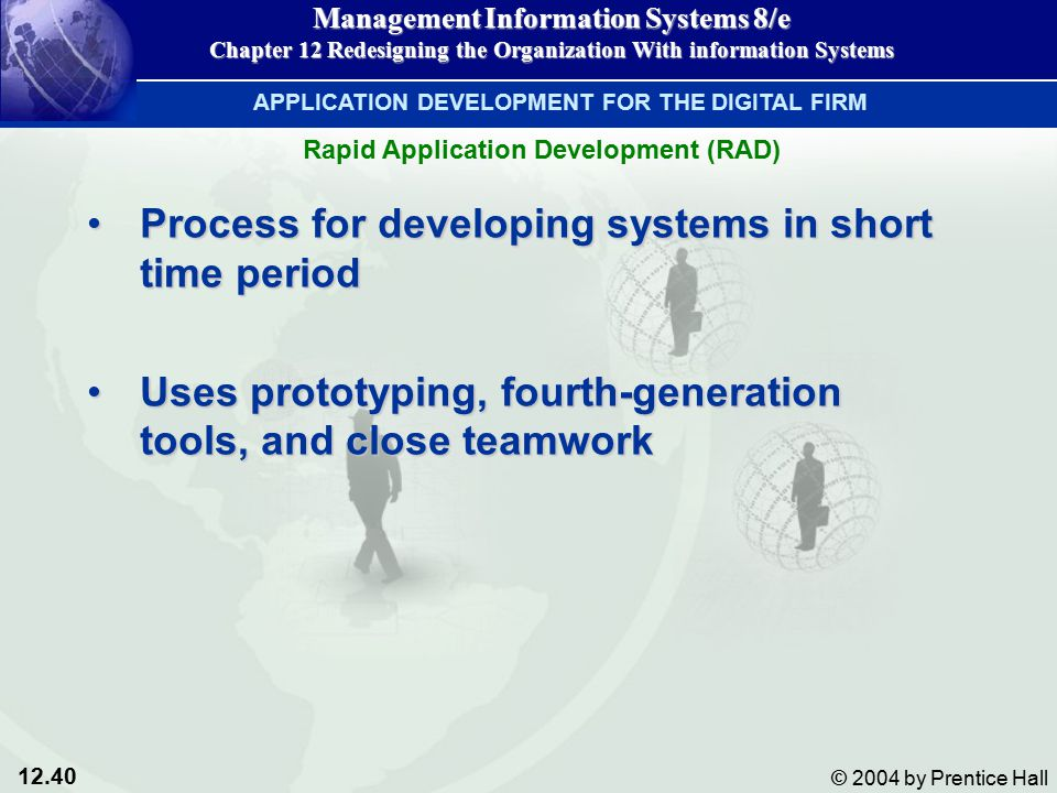 12.40 © 2004 by Prentice Hall Management Information Systems 8/e Chapter 12 Redesigning the Organization With information Systems Process for developing systems in short time periodProcess for developing systems in short time period Uses prototyping, fourth-generation tools, and close teamworkUses prototyping, fourth-generation tools, and close teamwork APPLICATION DEVELOPMENT FOR THE DIGITAL FIRM Rapid Application Development (RAD)