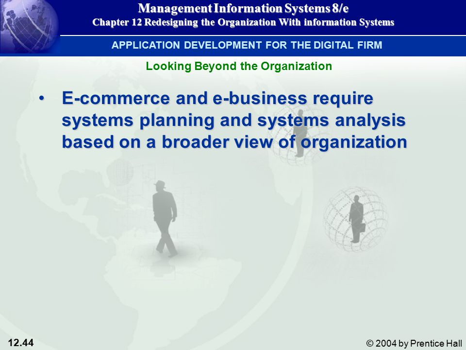 12.44 © 2004 by Prentice Hall Management Information Systems 8/e Chapter 12 Redesigning the Organization With information Systems E-commerce and e-business require systems planning and systems analysis based on a broader view of organizationE-commerce and e-business require systems planning and systems analysis based on a broader view of organization APPLICATION DEVELOPMENT FOR THE DIGITAL FIRM Looking Beyond the Organization