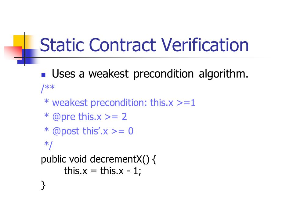 Static Contract Verification Uses a weakest precondition algorithm.