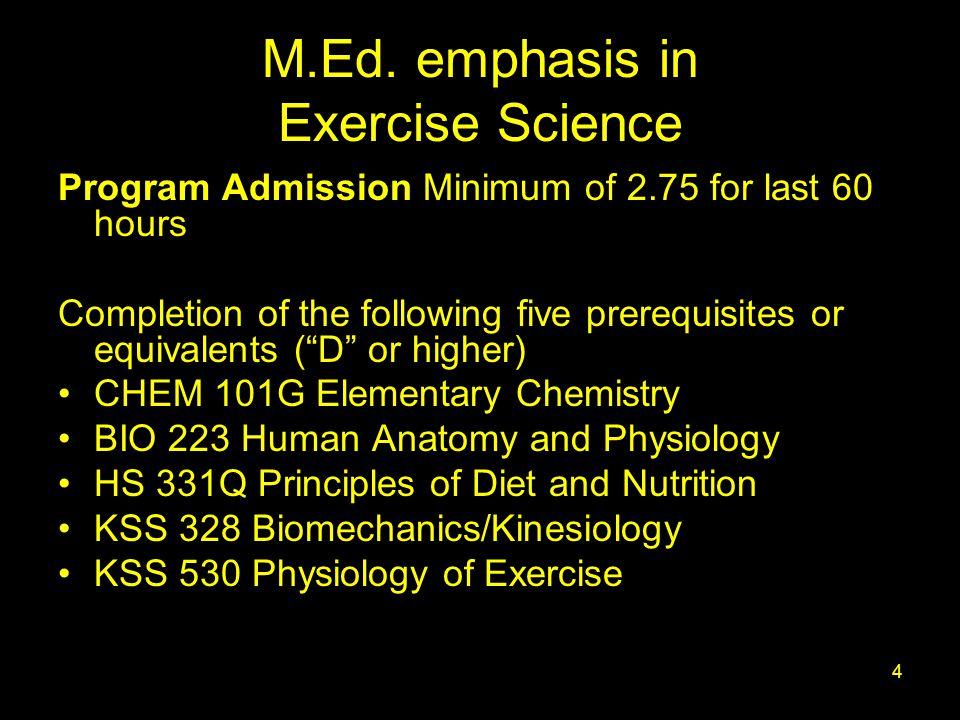 1 Exercise Science Graduate Program: Options 1-3 Department of ...