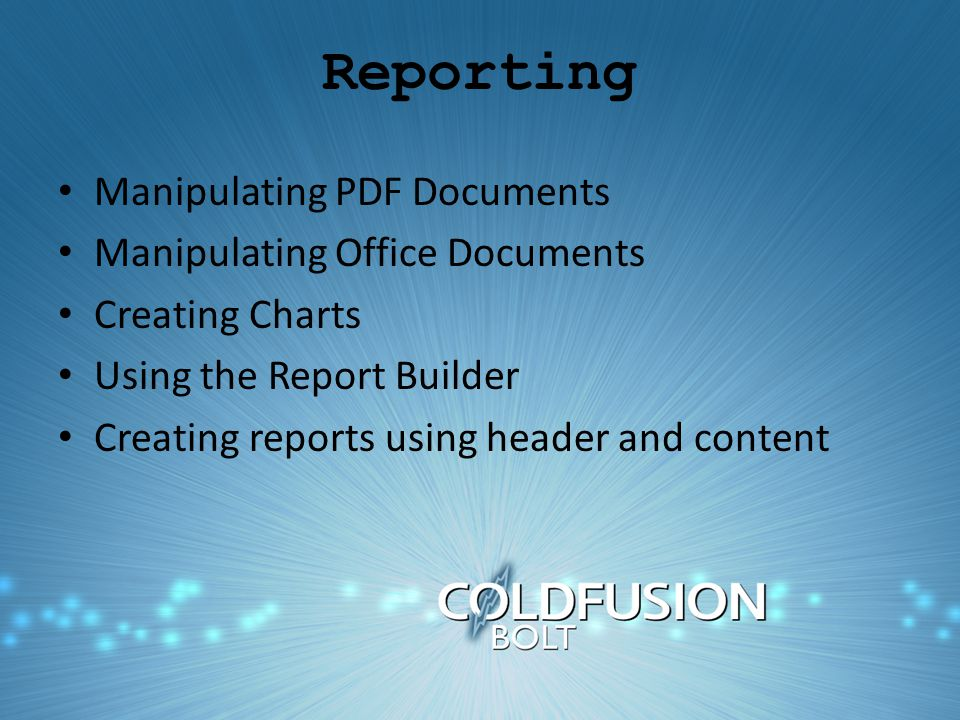 Reporting Manipulating PDF Documents Manipulating Office Documents Creating Charts Using the Report Builder Creating reports using header and content