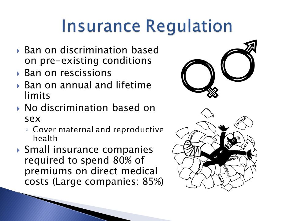  Ban on discrimination based on pre-existing conditions  Ban on rescissions  Ban on annual and lifetime limits  No discrimination based on sex ◦ Cover maternal and reproductive health  Small insurance companies required to spend 80% of premiums on direct medical costs (Large companies: 85%)