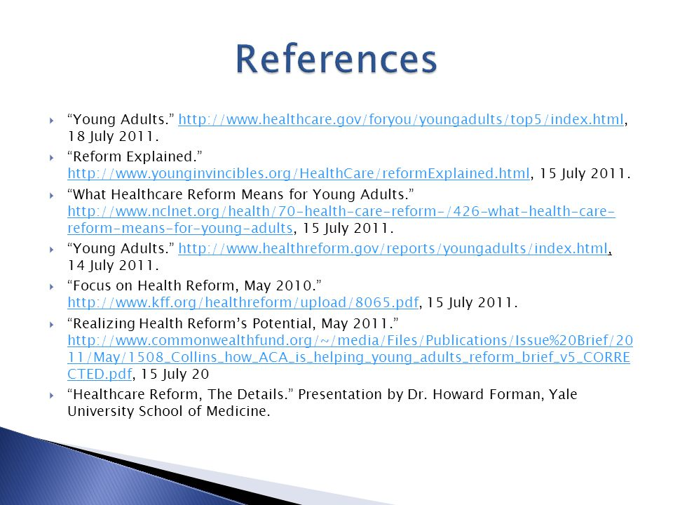  Young Adults July  Reform Explained July 2011.