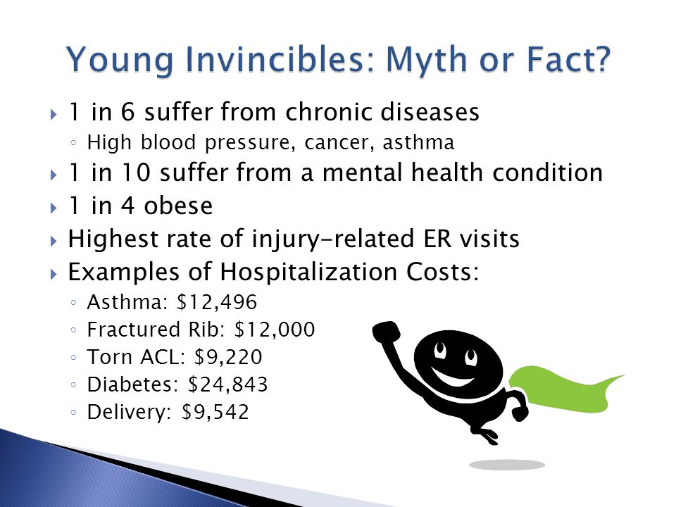  1 in 6 suffer from chronic diseases ◦ High blood pressure, cancer, asthma  1 in 10 suffer from a mental health condition  1 in 4 obese  Highest rate of injury-related ER visits  Examples of Hospitalization Costs: ◦ Asthma: $12,496 ◦ Fractured Rib: $12,000 ◦ Torn ACL: $9,220 ◦ Diabetes: $24,843 ◦ Delivery: $9,542