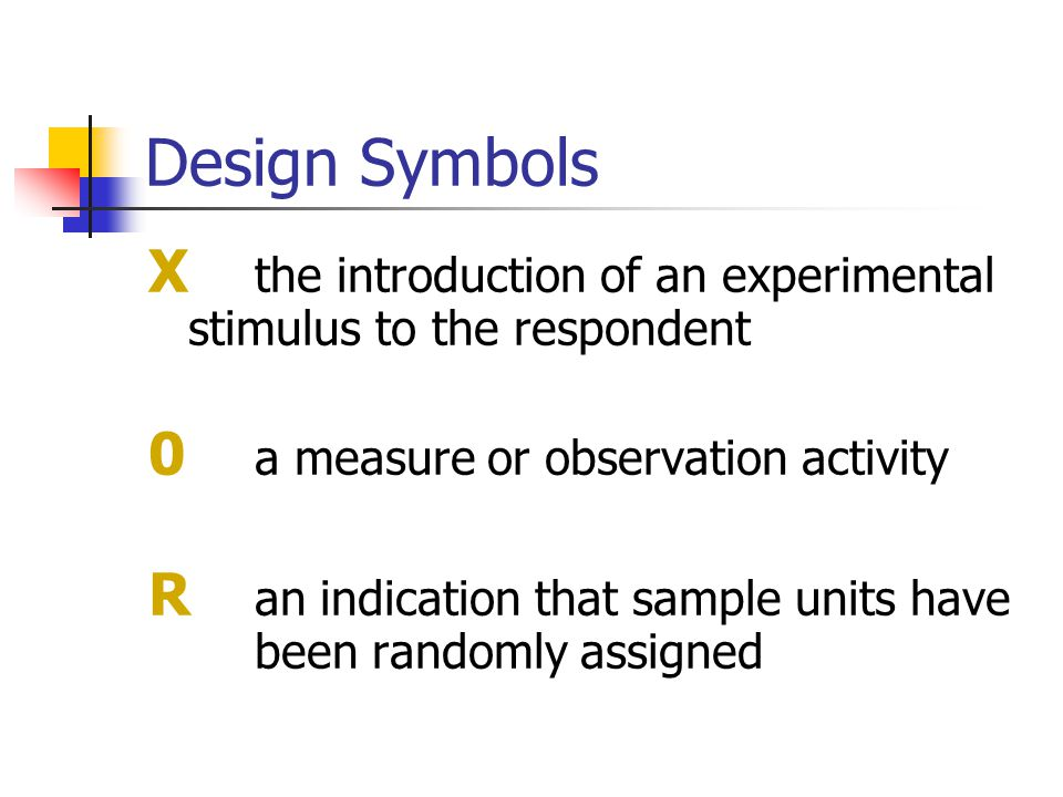 Design Symbols X the introduction of an experimental stimulus to the respondent 0 a measure or observation activity R an indication that sample units have been randomly assigned