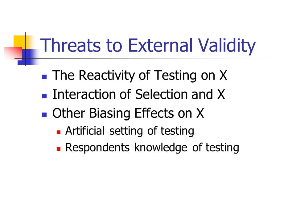 Threats to External Validity The Reactivity of Testing on X Interaction of Selection and X Other Biasing Effects on X Artificial setting of testing Respondents knowledge of testing