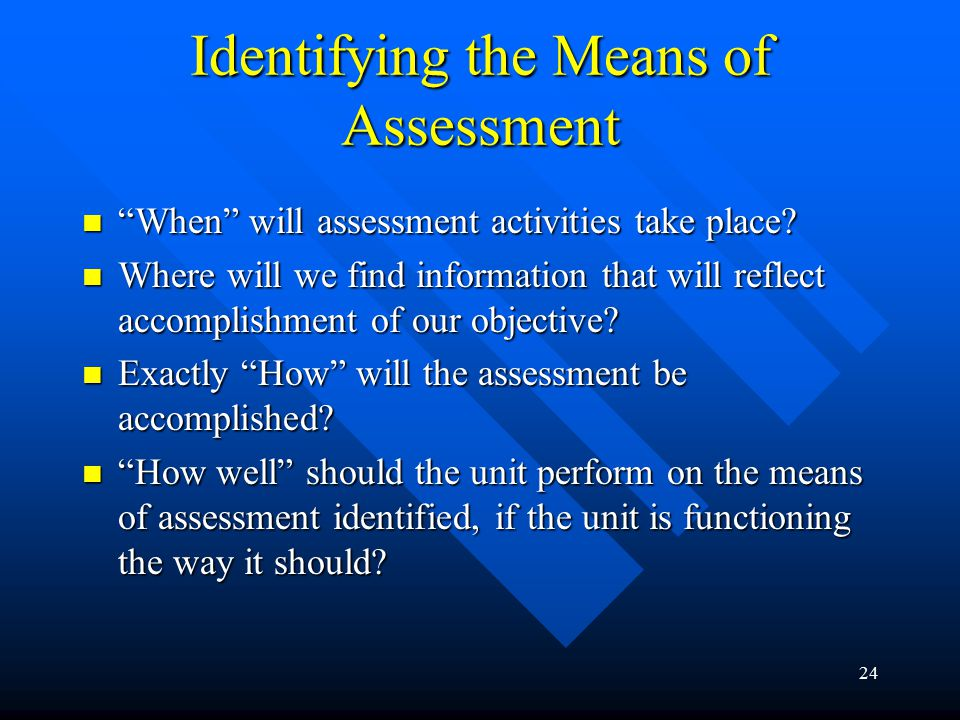 24 Identifying the Means of Assessment When will assessment activities take place.