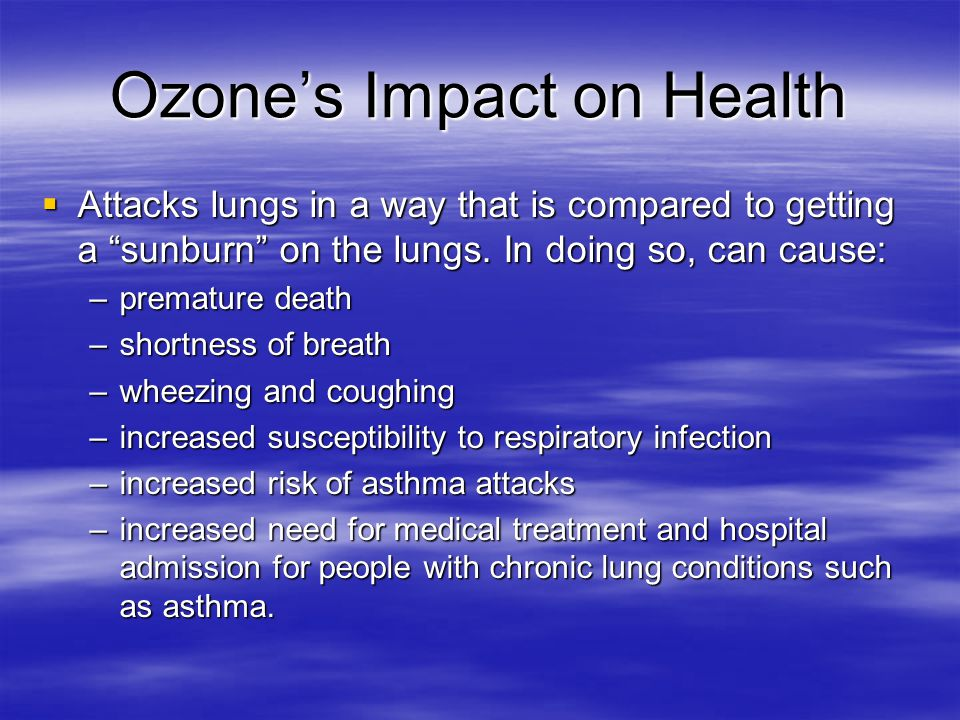 Ozone's Impact on Health  Attacks lungs in a way that is compared to getting a sunburn on the lungs.