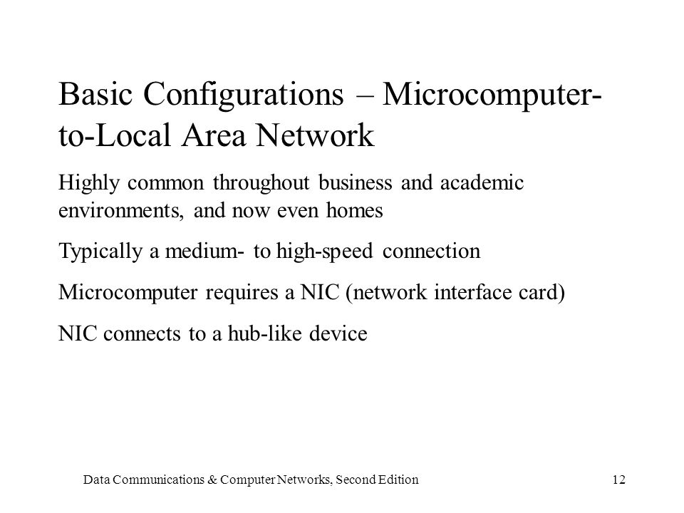 Data Communications & Computer Networks, Second Edition12 Basic Configurations – Microcomputer- to-Local Area Network Highly common throughout business and academic environments, and now even homes Typically a medium- to high-speed connection Microcomputer requires a NIC (network interface card) NIC connects to a hub-like device
