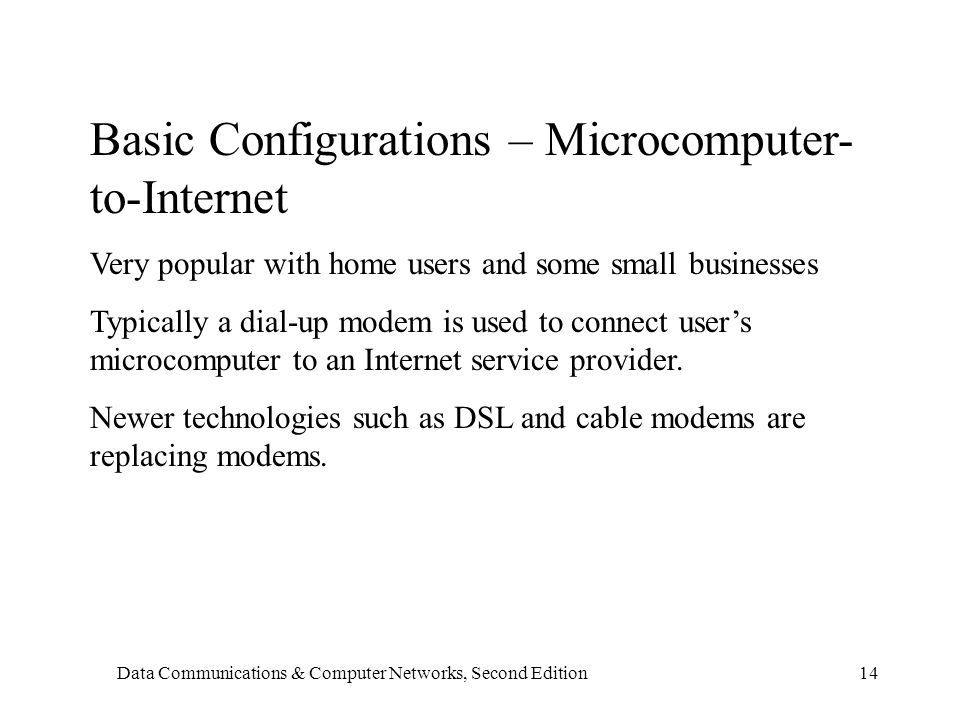Data Communications & Computer Networks, Second Edition14 Basic Configurations – Microcomputer- to-Internet Very popular with home users and some small businesses Typically a dial-up modem is used to connect user's microcomputer to an Internet service provider.