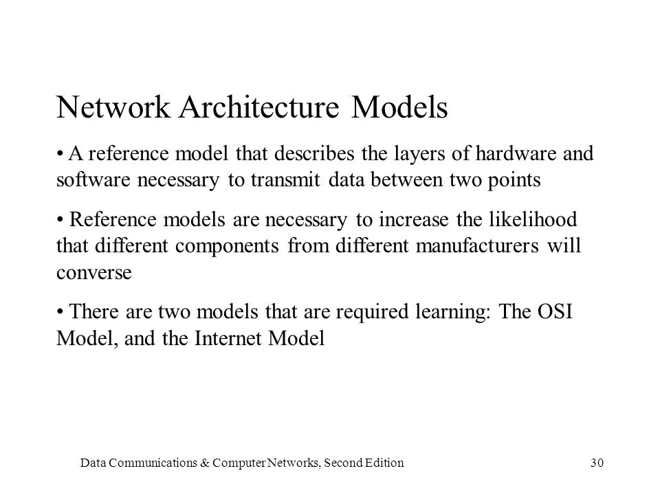 Data Communications & Computer Networks, Second Edition30 Network Architecture Models A reference model that describes the layers of hardware and software necessary to transmit data between two points Reference models are necessary to increase the likelihood that different components from different manufacturers will converse There are two models that are required learning: The OSI Model, and the Internet Model